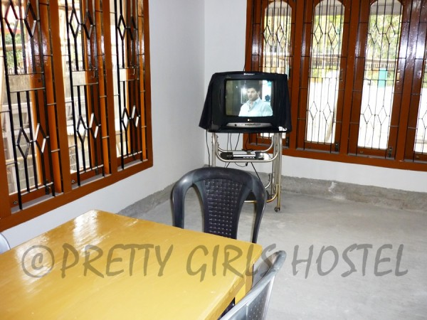TV and dining area guwahati girls hostel